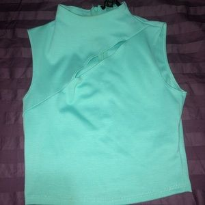 Guess teal crop top with cutout
